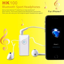 sport waterproof bluetooth earbuds with non-slip clip 3.5mm audio receiver,bluetooth earphone with music adapter for iphone7