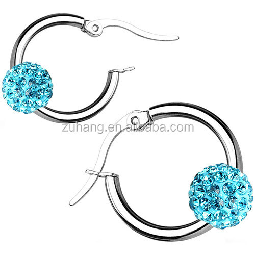 Epoxy Covered Multi Crystal Ferido Disc Ball 316L Surgical Steel Hoop Earrings