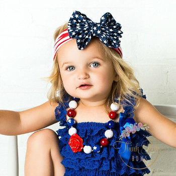 4th of July Baby Turban Headband for Girl Hair Accessories Metallic Messy Bow  Baby Head wraps c170a80fc13