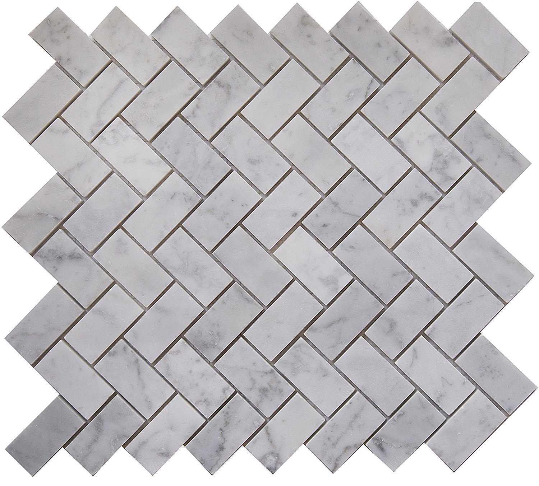 "Carrara White Marble Mosaic Tile, CWMM1CRO, Chip Size 1""X2"" Herringbone, 12""X11""X3/8"", Polished (Lot of 50 Sheets)"