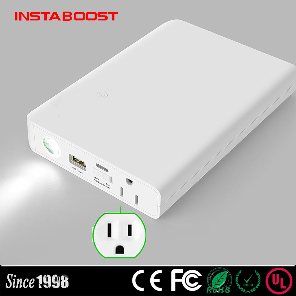 plug portable AC power bank 110V 240V outlet battery pack with Three USB 5V 5.1A