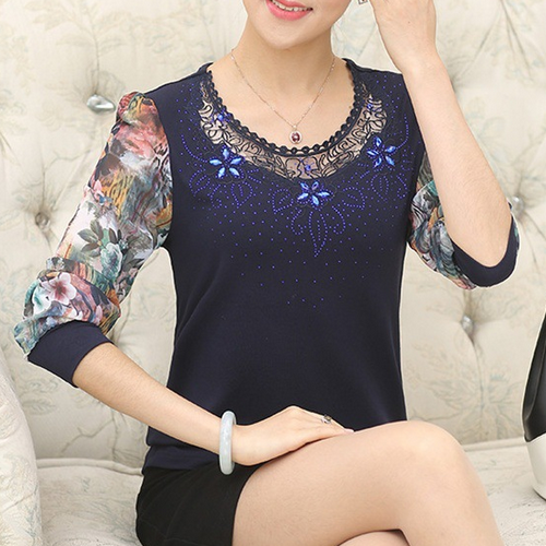 Latest design korean fashion women chiffon simple design ladies blouse