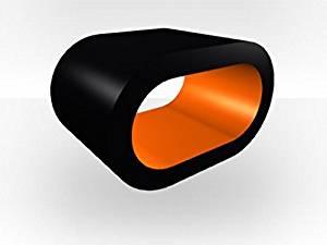 Zespoke Black Outer Hoop Bedside Table - Orange Gloss Inner