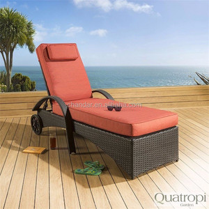 Beach lounger with wheel,Sun lounger with shade,Waterproof sun lounger cushion