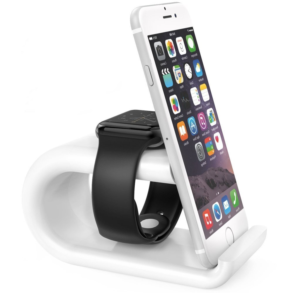 TOPEREK iWatch Charging Dock & Phone Holder Stand Bracket, 2 in 1 Aluminum Duo Charging Station for Apple Watch Series 1 / Series 2 / 42mm / 38mm, iPhone 7/7Plus/6s/6s Plus White
