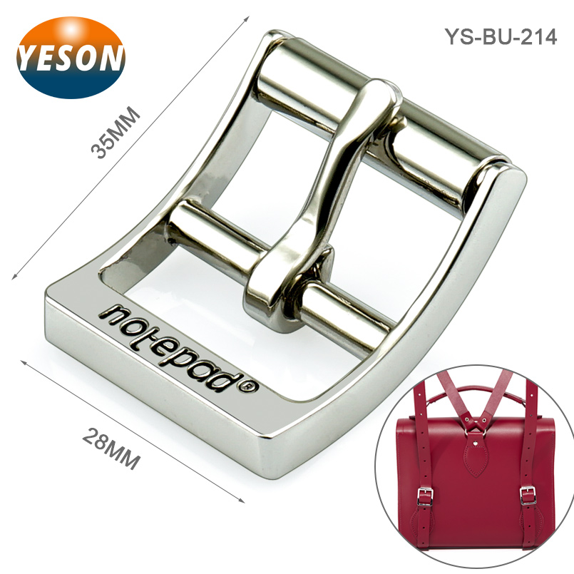 Engraved Logo Roller Buckle With Pin Metal Strap Bag Clip Buckle