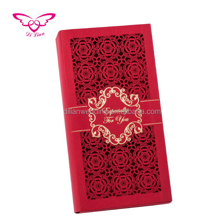 Laser cut flower drawer style wedding candy,wedding cake gift paper box