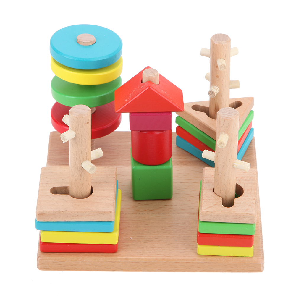 Wooden Montessori Toys Abacus Geometric Sorting Matching Counting Board Blocks Kids Early Educational Toys For Children Gift Blocks Model Building