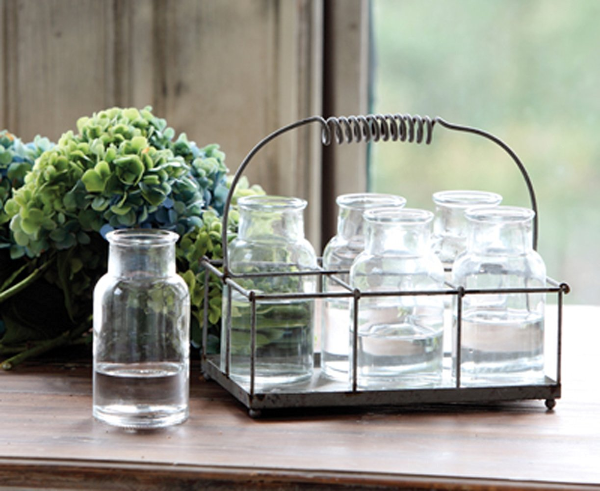 Antique-Style Wire Caddy with Milk Bottles Home Decor,Pack of 6