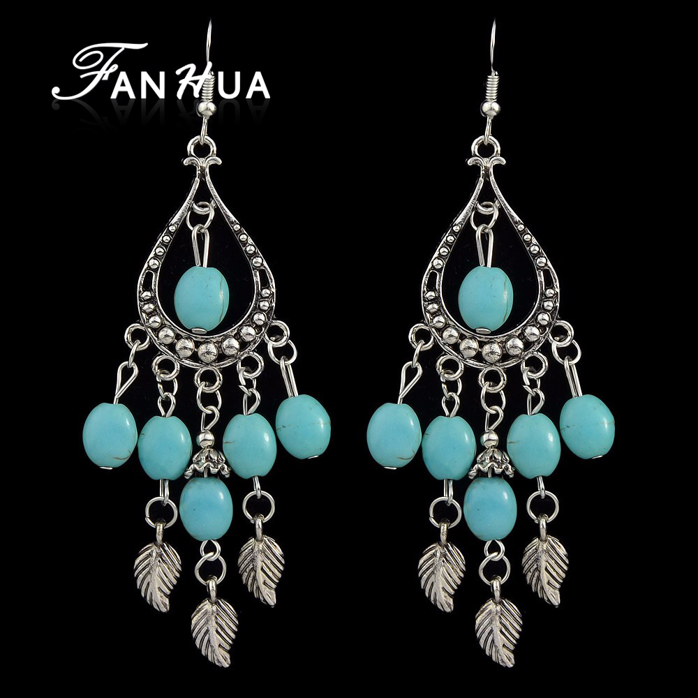 Vintage Style Imitation Turquoise Beads Long Chandelier Earrings