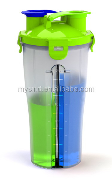 500 ml dual shaker cup, mix cup,hydra cup
