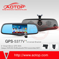 Factory Best Price Android 4.4 WIFI gps bluetooth rearview mirror for mini jeep gps with dvr
