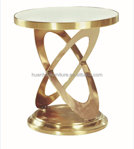 ST037 Foshan shunde furniture market home furniture used rose gold stainless steel marble corner side table