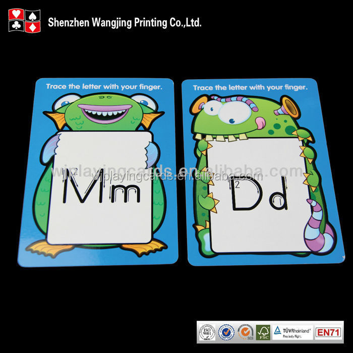 High End Custom Printed Educational Alphabet Flash Card Printing,Education Game Card For Kids