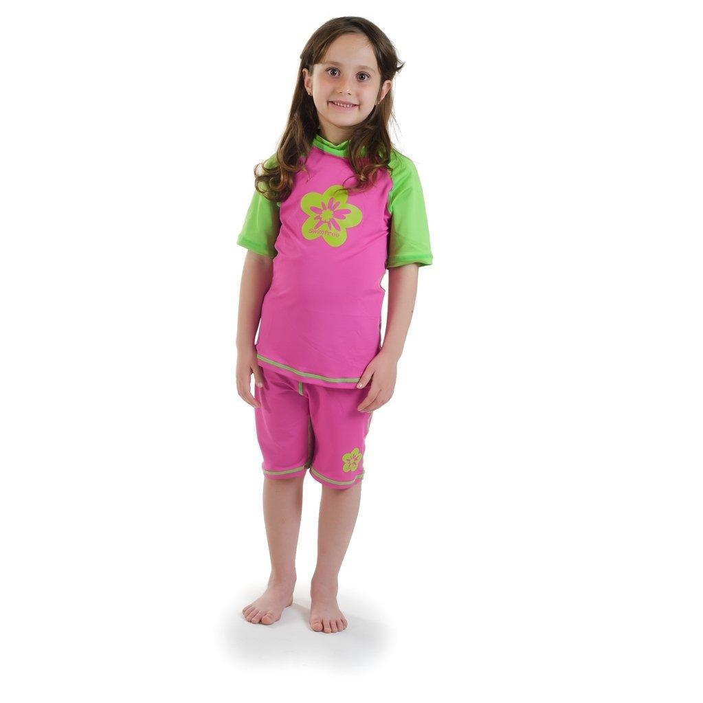 b35b0f6f44f4d Get Quotations · Girls size 6 Pink/Green Sun UV Protective Rashguard  Swimsuit swim shirt & shorts SPF