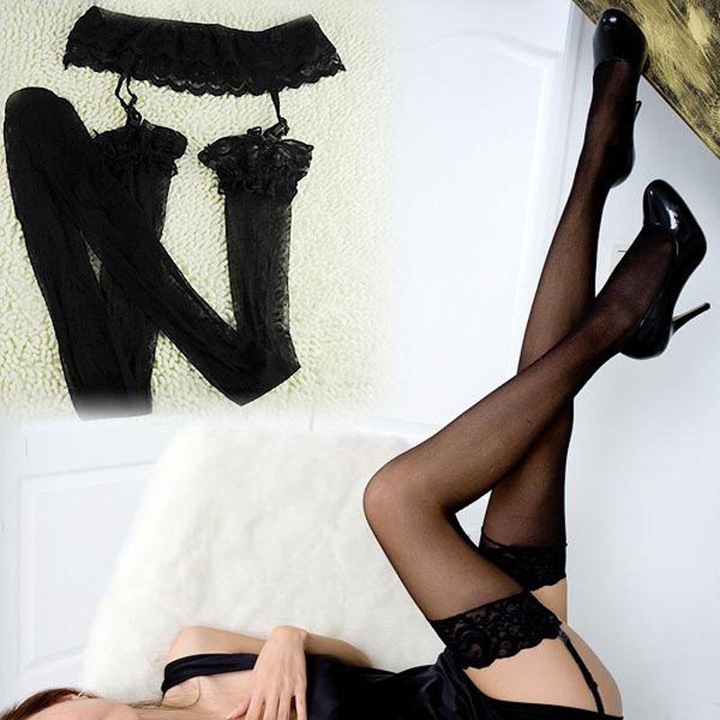 9be2ff73e16 Women Sexy Black Lace Top Thigh-Highs Garter Belt Suspender Stockings Socks  New
