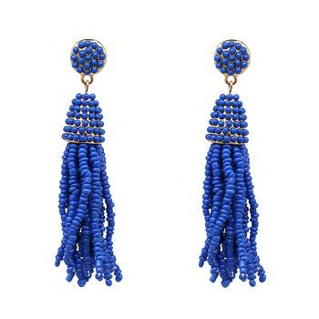 617815dfdcd46 Latest Fashion long hanging women seed bead tassel earring boho tassel drop  earrings for girls