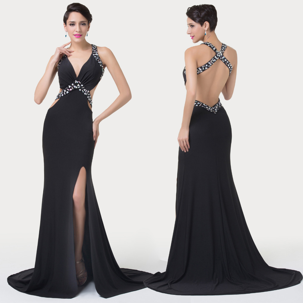 Cheap Backless Black Evening Gown, find Backless Black Evening Gown ...