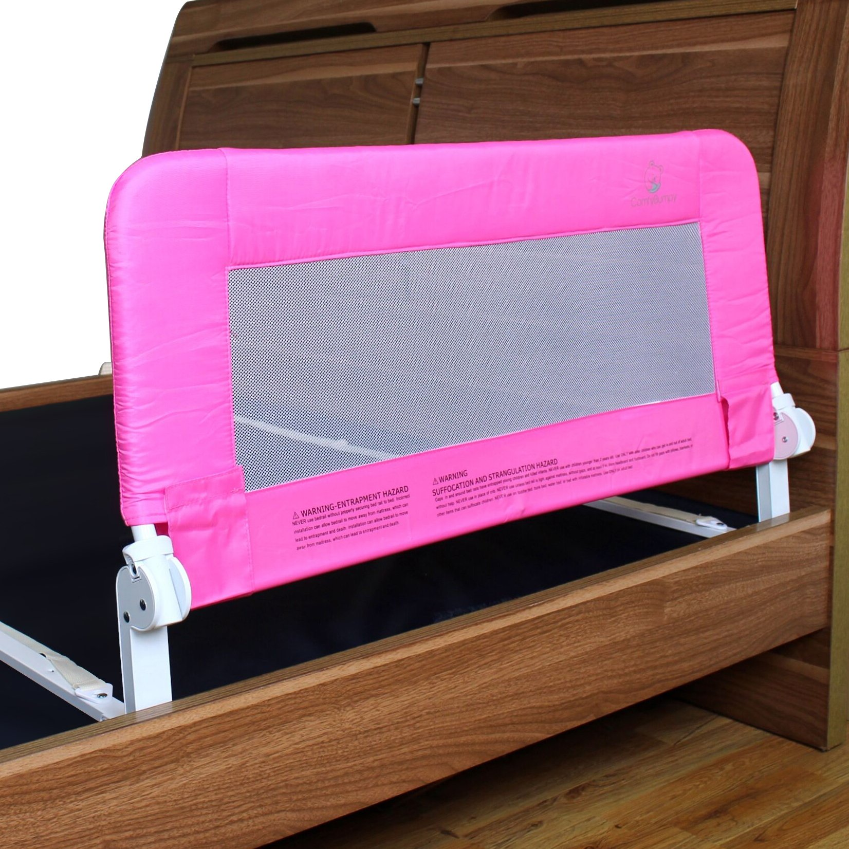 Toddler Bed Rail Guard for Convertible Crib, Kids Twin, Double, Full Size Queen & King (Pink)