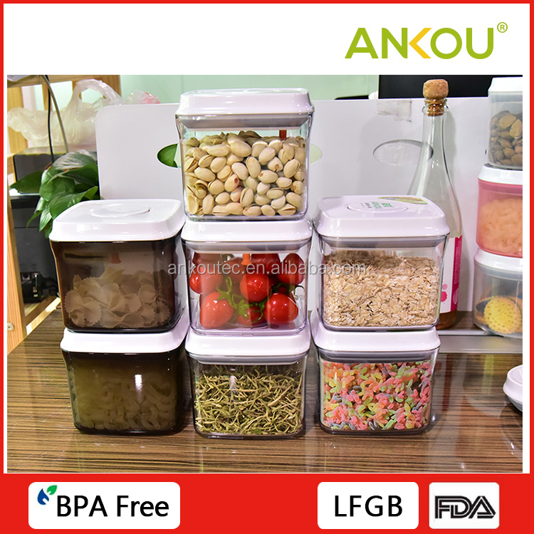 One Touch Button Clear Food Grade BPA Free Square Plastic Container/Plastic 7-Piece Stackable Food Container Set