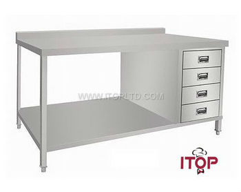 With Under Shelf Backsplash Stainless Steel Work Table Drawers - Stainless steel work table with drawers