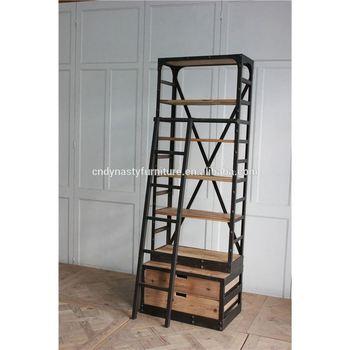 Vintage Style Furniture Metal Bookcase With Ladder