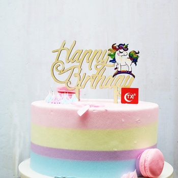 3D Printing Rainbow Unicorn Wooden Happy Birthday Cake Topper