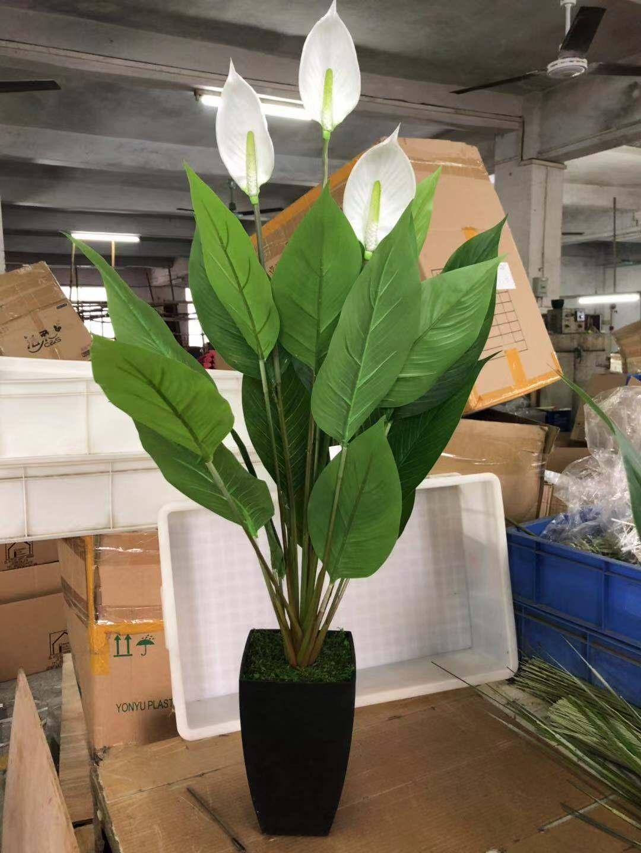 Gros Pot Fleur Plastique artificielle paix lys buisson de fleurs fleur plantes en pot pour mur en  plastique en gros - buy fleur de lys de paix artificielle,fleur de