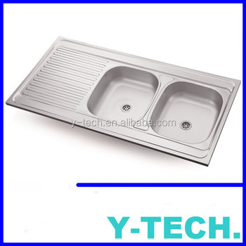 Stainless Steel Indonesia Deep Double Kitchen Sink Commercial Drain Yk1260r
