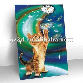 3d Lenticular Gambar Hewan Kucing Untuk Dinding Dekorasi Populer Di