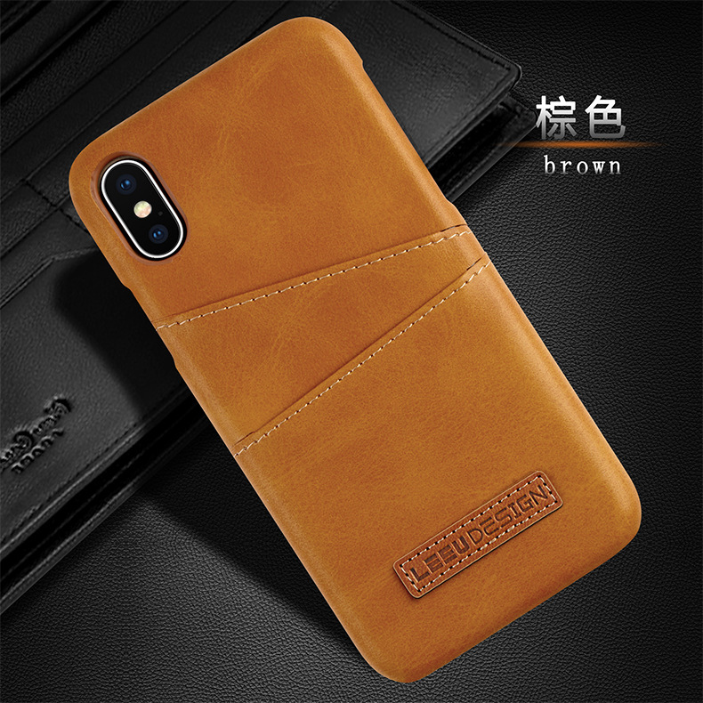 Calf leather shell The New Card anti-fall for iphone x xs xsmax xr 8 8plus 7 7plus 6s 6splus Half pack Solid color phone case фото