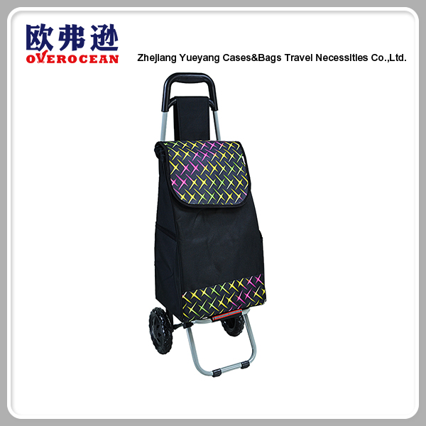 Practical large polyester foldable shopping trolley bag with wheels