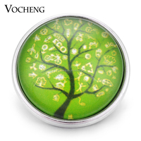 Vocheng Snap Charms 18mm Green Tree Glass Button Jewelry Vn-1343