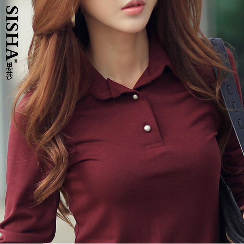 Весна осень зима хлопок смесей поло Feminina классический поло женщин рубашка 5 сплошной цвет красный черный белый хаки серый S ~ xxl