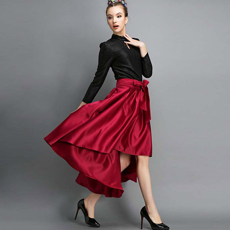 Мода женщин урожай ретро хепберн красное вино галстук-бабочка асимметричный высокий талии-line миди качели юбки бальное платье