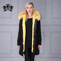2018 new hot cheap winter women jacket parka factory supply lemon yellow faux fur liner thick hooded coat