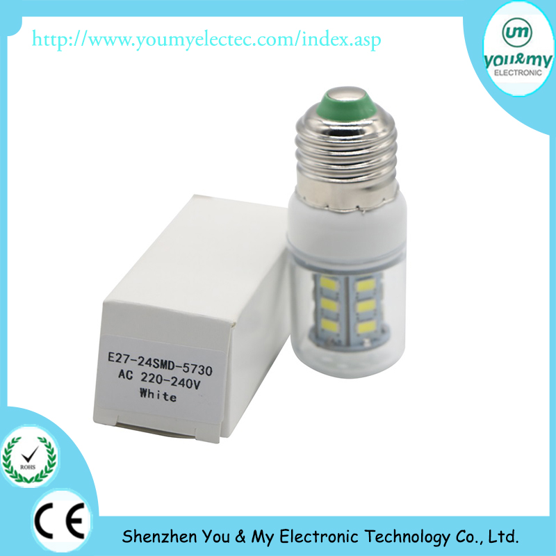 E27 E14 LED Light lamp AC 110/220V SMD 5730 LED bulb corn light projector lamp 24Led E27 Led Bulbs