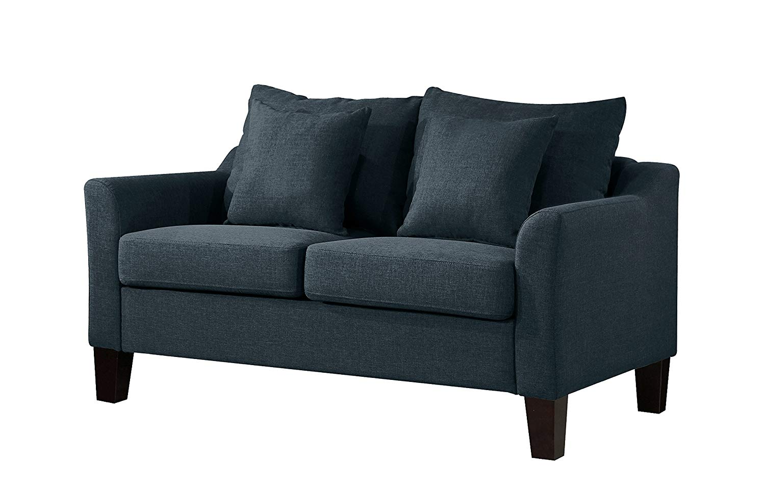 Container Furniture Direct S5322-L Michael Linen Upholstered Mid-Century Modern Loveseat, Blue