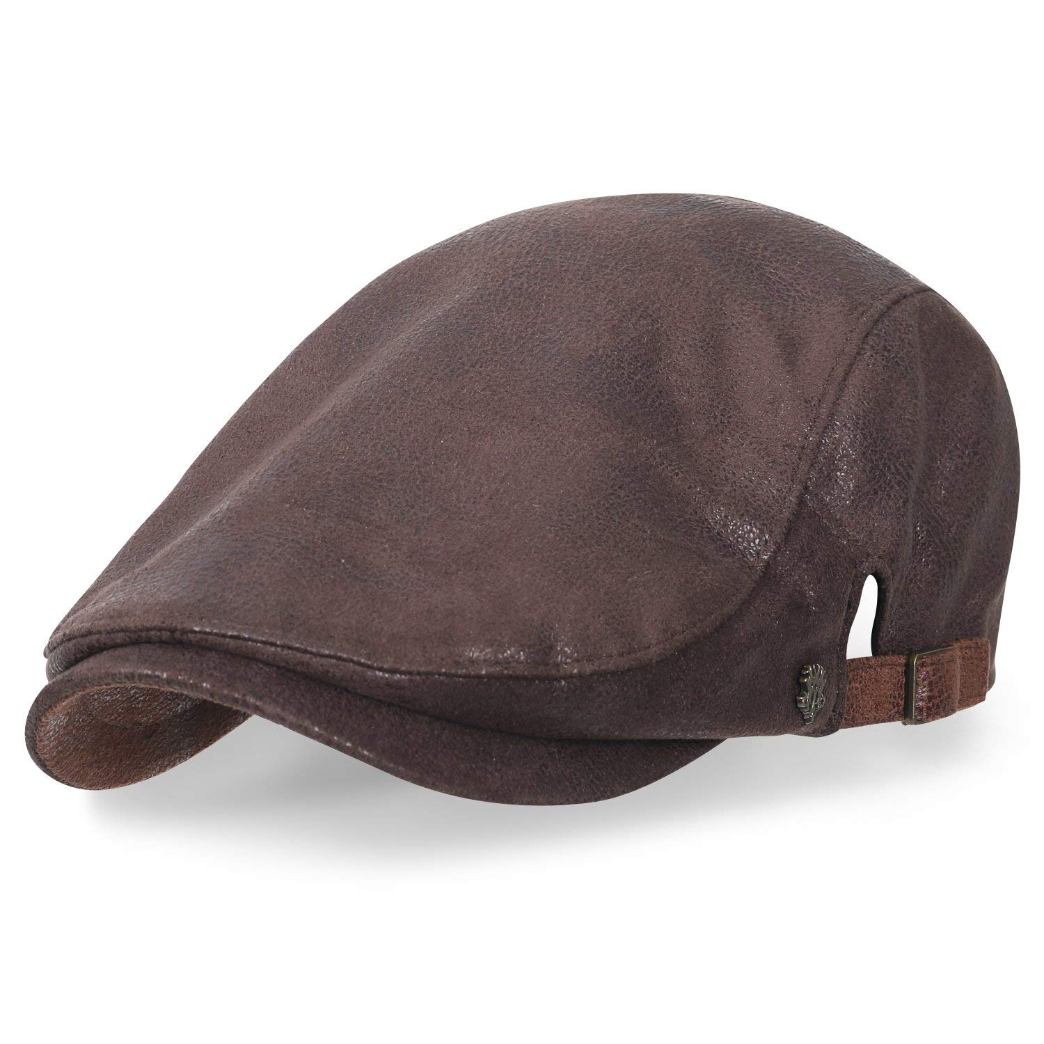 ililily Large Size Faux Leather Gatsby Newsboy Hat Cabbie Hunting Flat Cap