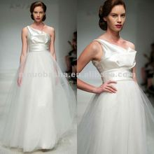 NY-1859 Silk Wool one shoulder gown with soft tulle skirt wedding dress