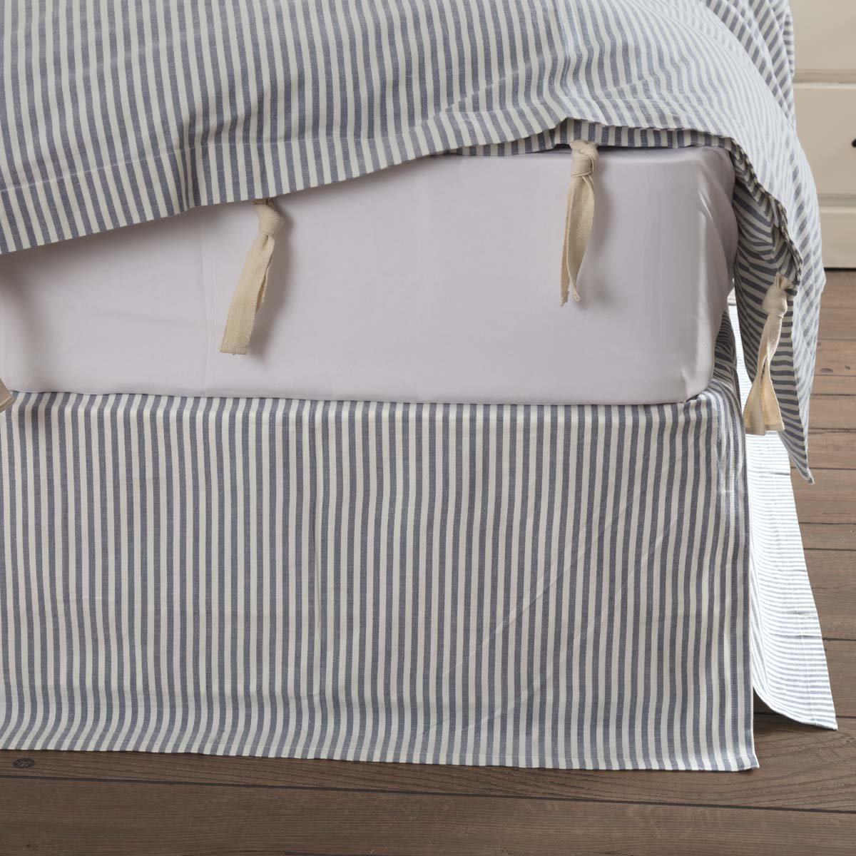 Sheets Pillowcases 60x80 W 16 Drop Tailored Dust Ruffle Piper Classics Farmhouse Ticking Stripe Blue Queen Bed Skirt Home Kitchen Ortopediasaojose Com Br