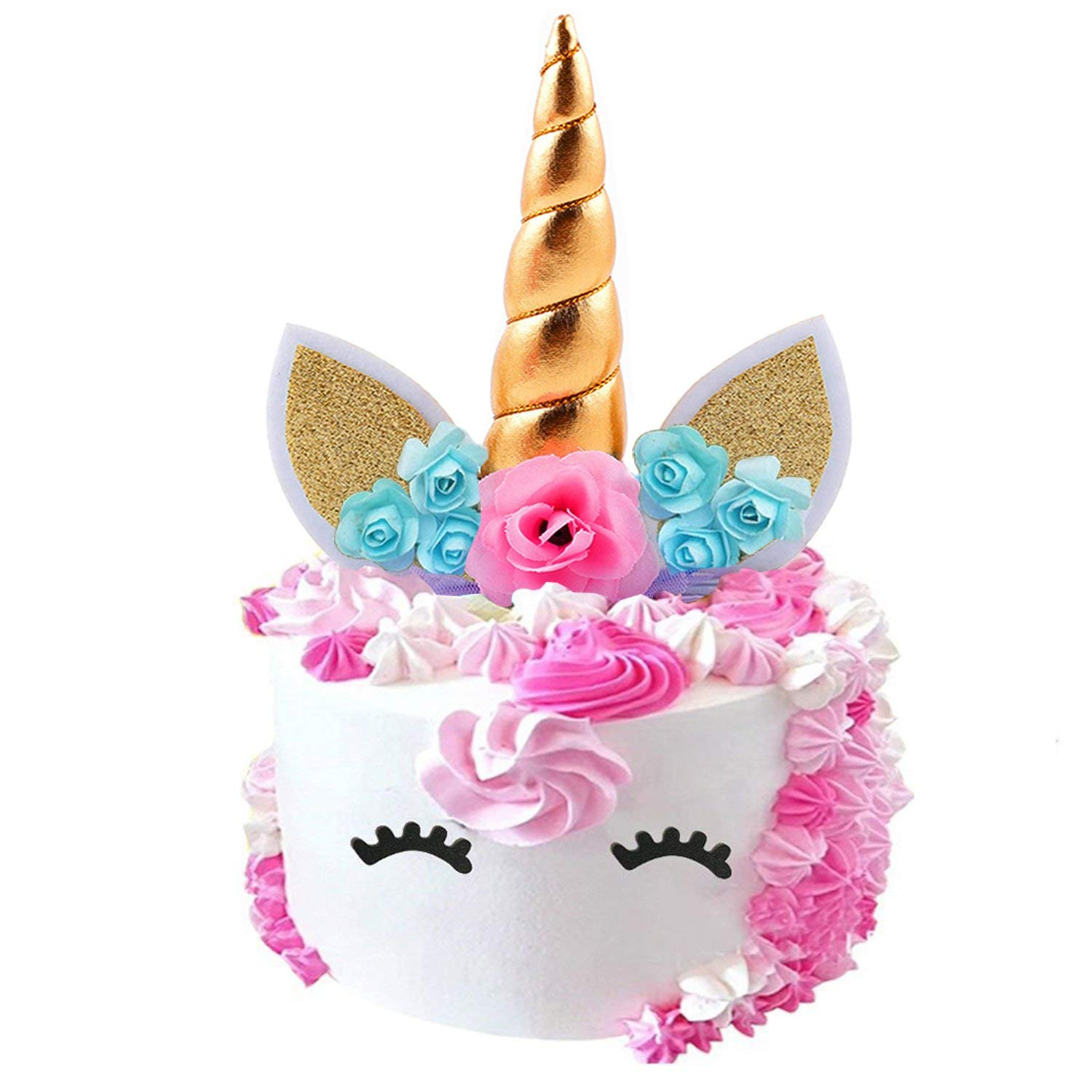Get Quotations Fanisi Unicorn Cake Topper Birthday Party Supplies Handmade Horn Ears And Flowers Set
