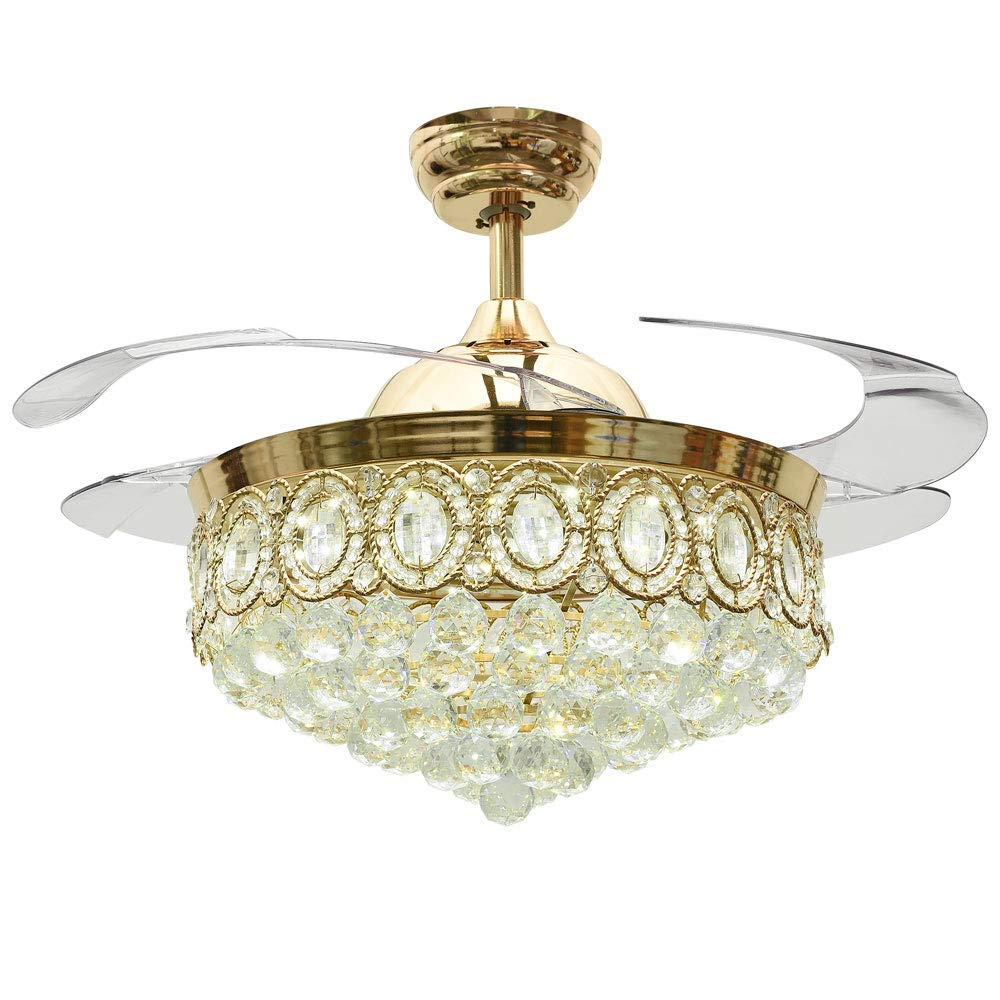 Rs Lighting Modern Crystal Gold Ceiling Fan With Light