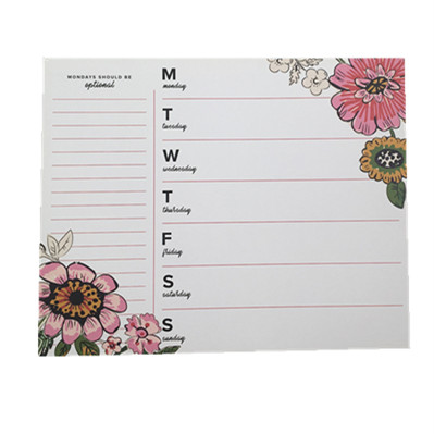 Wholesale no re-sticky calendar flower printed sticky note