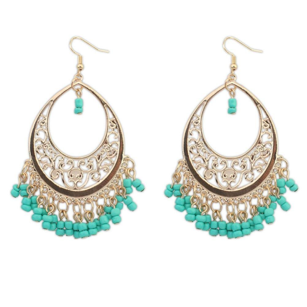 Clearance Deal! Hot Sale! Earring, Fitfulvan 2018 Bohemian Europe And The United States Ethnic Style Hollow Beaded Tassel Mother's Day Gifts Earrings Jewelry (Green)