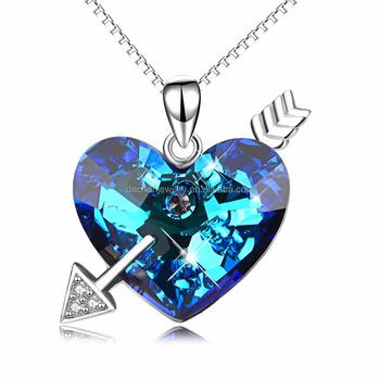 Love heart and arrow shape blue diamond pendant silver necklace love heart and arrow shape blue diamond pendant silver necklace pretty woman fashion necklace aloadofball Image collections