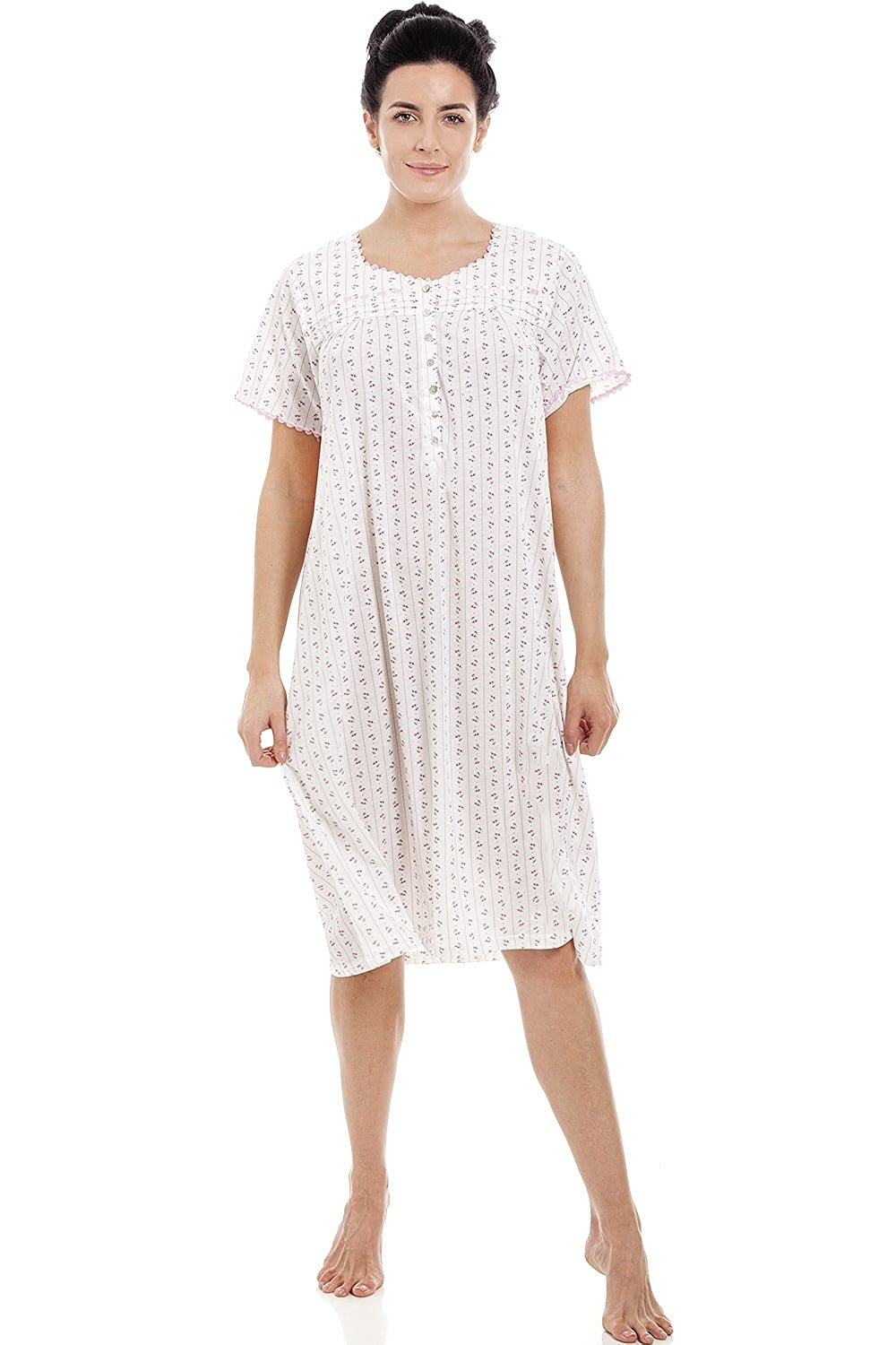 8c199bf184 Get Quotations · Camille Pink   Grey Floral Pinstriped Short Sleeve  Nightdress