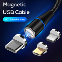 Nylon Braided Magnetic Type C Fast Charging Usb Cable,Mobile Phone Micro Usb Charger Data Cable