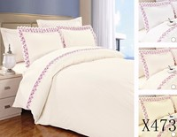 KOSMOS-4pcs twin full queen king size embroidery microfiber uk importer of bed sheet
