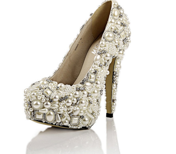 Fantastic Free Shipping Ivory Pearl Wedding Shoes High Heels Rhinestone Bridal Shoes Platform Pumps bridesmaid shoes